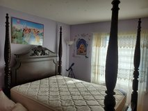 QueenBed (canopy incl), mattress and box spring in Yorkville, Illinois