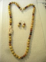NEW JASPER/BONE 26 INCH NECKLACE/EARRING SET  w/1-3/4 x 1 IN. CAT FOCAL BEAD in Yorkville, Illinois