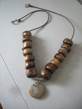 NEW-UNISEX BOHEMIAN STYLE AFRICAN BEADS/JASPER PENDANT/SILVER BAIL NECKLACE in Yorkville, Illinois