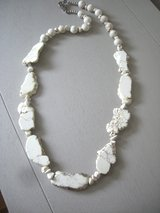 NEW GENUINE WHITE HOWLITE TURQUOISE SLAB NECKLACE - 29 IN. -by BEAR MOUNTAIN DESIGNS in Yorkville, Illinois
