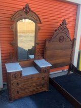 Antique Walnut Victorian Bed & Vanity in Cherry Point, North Carolina