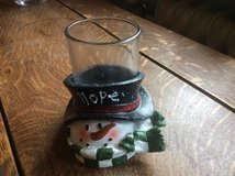 """Snowman """"hope"""" votive candle holder in Ramstein, Germany"""