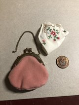 American Girl - Pink Suede Purse, Needlepoint Handkerchief and Lucky Penny in Bolingbrook, Illinois