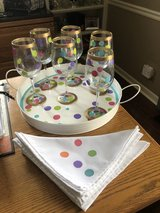 NEW 6 Handpainted Wine Glasses, Tray and 6 Cloth Napkins in Bolingbrook, Illinois