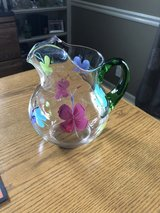 Glass Pitcher Handpainted with Butterflies in Bolingbrook, Illinois