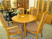 Dining Table with 2 Leaves and 4 Rolling Chairs in Westmont, Illinois