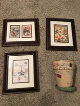 Four item set of pictures and ceramic flower pot in Warner Robins, Georgia