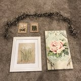 Four floral pictures & beaded swag decoration in Warner Robins, Georgia