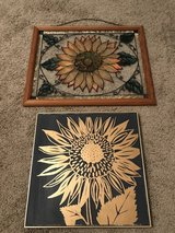 Sunflower stained glass painted window & black/gold sunflower picture in Warner Robins, Georgia
