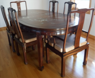 Rosewood w/Asian Mother of Pearl Dining Set ~Table - 2 Leaves - 8 Chairs in Chicago, Illinois
