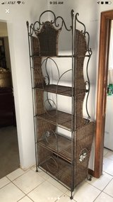 Wicker & metal decorative shelf / stand w/ 5 shelves in Yorkville, Illinois