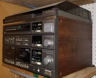 Vintage Stereo System with Turntable, Dual Cassette Player, Radio & 2 Speakers in Kingwood, Texas