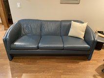 Blue all leather sofa in Naperville, Illinois