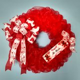"""18"""" Valentine's Day Wreath Red Mesh with Bow and Handmade Sign in Camp Lejeune, North Carolina"""