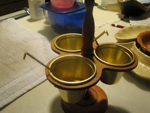 metal brass cups and  spoons with wooden holder in Alamogordo, New Mexico