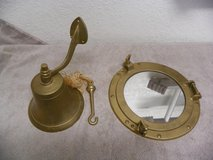 "brass ships bell/ brass 12"" porthole mirror. in Alamogordo, New Mexico"