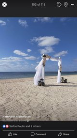 beach wedding arch and decorations in Okinawa, Japan
