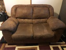 Brown suede loveseat/couch in Okinawa, Japan