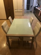 glass dining table set in Okinawa, Japan
