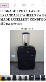 LUGGAGE 2 PIECE LARGE EXPANDABLE WHEELS SWISS MADE EXCELLENT CONDITION - in Chicago, Illinois