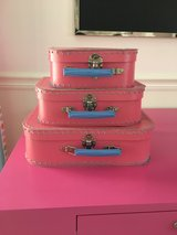 Set of 3 Stacking Pink Suitcases from Land of Nod / Crate & Kids in Aurora, Illinois
