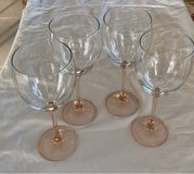 4 Rose Glass Red Wine Glasses in Okinawa, Japan