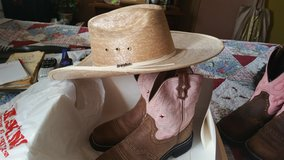 JUSTIN BOOTS AND HAT in Lackland AFB, Texas