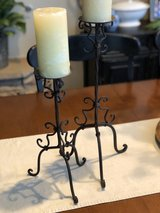 Pair of Scroll Iron Pillar Candlesticks in Houston, Texas