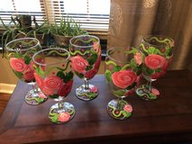 5 Beautiful Hand Painted Pink Roses Water Goblets in Bolingbrook, Illinois