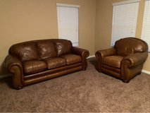 Brown Leather Couch & Chair Set in Kingwood, Texas