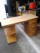 Wood desk in Travis AFB, California