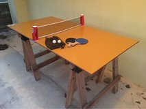 Homemade Wooden Ping Pong Table w/ net, paddles and balls in Okinawa, Japan