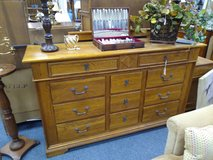 Oak 11 Drawer Long Dresser and Mirror in Bolingbrook, Illinois