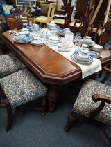 Antique Walnut Table with 6 Chairs and 2 Leaves in Bolingbrook, Illinois