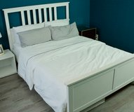 IKEA Hemnes Bed Complete with used Mattress and Boxsprings in Ramstein, Germany