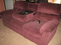 Burgundy Couch that Heats & Massages in Camp Lejeune, North Carolina