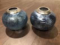 Pair blue mercury glass candle holders in Beaufort, South Carolina