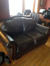 Faux leather & wood loveseat in St. Charles, Illinois