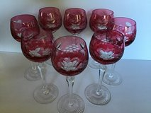 ROSE CUT AND CLEAR ETCHED CRYSTAL STEMMED GOBLETS (8) REDUCED in Alamogordo, New Mexico