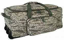 Air Force Digital Camo Deployment/Container Bag with Tri-Wheel Suitcase in Okinawa, Japan