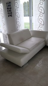 Couch  good condition  leather white in Ramstein, Germany
