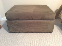 Olive Green Faux Suede Ottoman. Reduced! in Beaufort, South Carolina