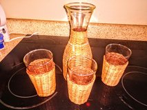 Vintage juice/liquid server and glasses wicker in Fort Bragg, North Carolina