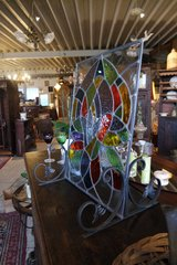 stained glass picture with wrought iron stand in Wiesbaden, GE