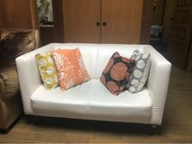 white leather like couch in Okinawa, Japan