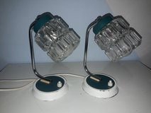 2 antique bedside lamps white green 50s retro vintage glass shade in Ramstein, Germany