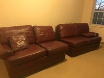 Red leather sectional W E Smythe in Aurora, Illinois