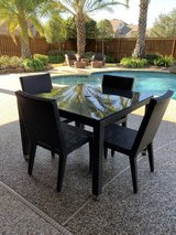 Frontgate Palermo 5-pc Square Dining Set in Bronze Finish with cushions in Houston, Texas