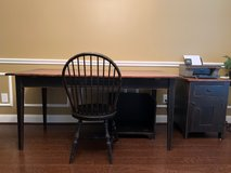 Farmhouse Office Desk, Chair, Printer Table, and CPU Storage in distressed black finish in Kingwood, Texas