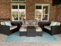 Frontgate Palermo 3-pc Loveseat Set and Coffee Table with Nesting Ottomans in Bronze Finish in Kingwood, Texas